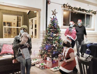 Christmas presents masks on